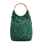 Cotton shoulder bag, 'Rattan Hoops'