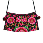 Cotton shoulder bag, 'Flower Festival'