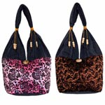 Cotton and polyester shoulder bag, 'Mini Duo' (set of 2)