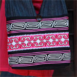 Cotton shoulder bag, 'Yao Swirls'