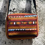 Cotton shoulder bag, 'Sweet Liquorice'