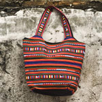 Cotton shoulder bag, 'Spicy Chili'