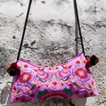 Cotton shoulder bag, 'Floral Festival'