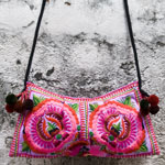 Cotton shoulder bag, 'Ethnic Flowers'