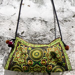 Cotton shoulder bag, 'Earth Flowers'