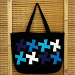Cotton shoulder bag, 'Blue Children'
