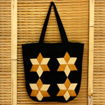 Cotton shoulder bag, 'Phrao Stars'