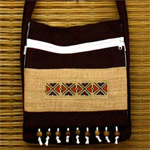 Cotton shoulder bag, 'Thai Hip'