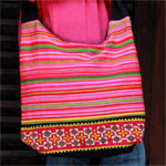 Cotton shoulder bag, 'Fertile Lands'