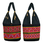 Cotton shoulder bag, 'Tribal safari' (set of 2)
