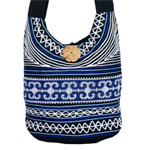 Cotton shoulder bag, 'Blue River'