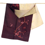 Embroidered silk scarf, 'Sweet Dragonflies'