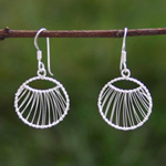 Sterling silver dangle earrings, 'Dream Hoops'