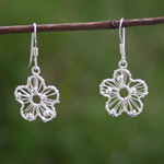 Sterling silver dangle earrings, 'Flora Tribute'