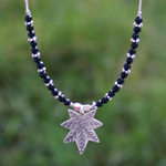 Silver and onyx necklace, 'Leaf Talisman'