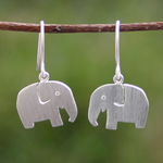 Sterling silver dangle earrings, 'Elephant Twins'