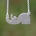 Sterling silver pendant necklace, 'Animal Life'