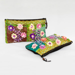 Cotton purse, 'Chiang Mai Flowers' (Set of 2)