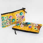 Cotton purse, 'Doi Tung Flowers' (Set of 2)