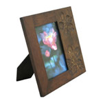 Mango wood photo frame, 'Mystical Flowers'