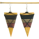 Kapok wood earrings, 'Solar Beams'