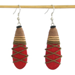 Kapok wood earrings, 'First Romance'
