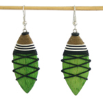 Kapok wood earrings, 'Green Tears'