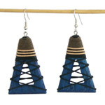 Kapok wood earrings, 'Trapezes'