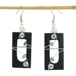 Quartz and wood earrings, 'Musical Spirals'