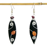 Kapok wood and carnelian earrings, 'Metallic Swirls'