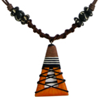 Kapok wood pendant necklace, 'Orange Vessel'