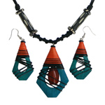 Kapok wood and agate jewelry set, 'Green Beehives'